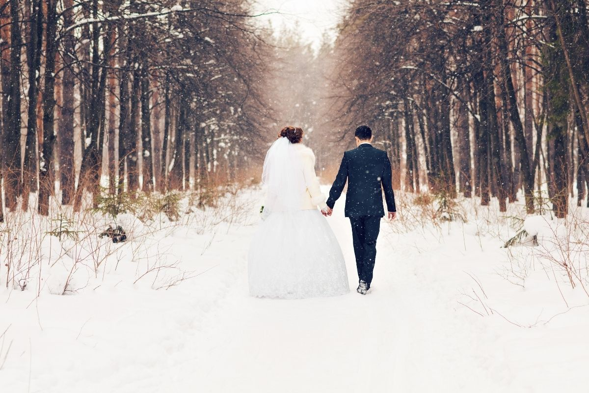 mariage hiver fôret nature amour love wedding winter